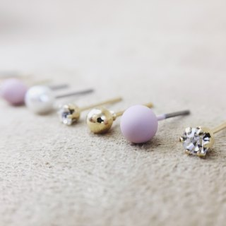 Mist Suspension Galaxy Round Pink Purple - Earrings Earrings (9 pieces)