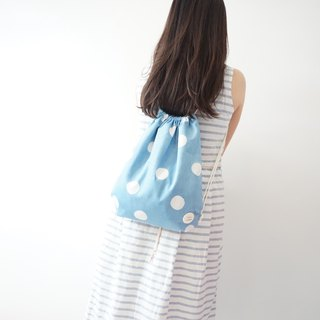 S.A x Tiffany Macaron, Indigo dyed Handmade Dots Pattern Backpack