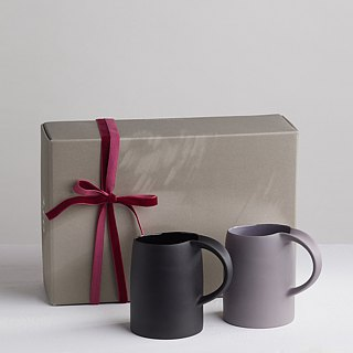 【3, co】 water mug gift set (2 pieces) - gray + black