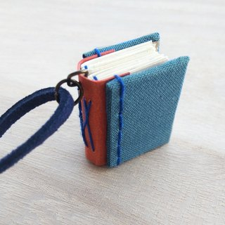 Mini Book Necklace, with deepblue faux suede cord