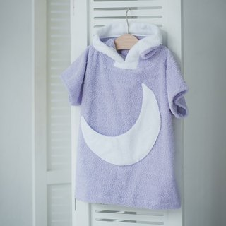 Purple bath robe with white moon pocket for kids