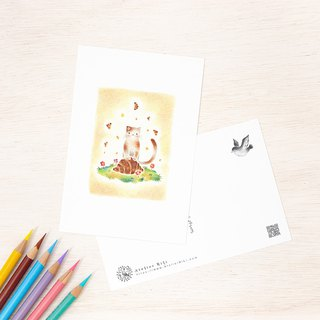 "4 pieces set. Like a picture book. Postcard ""Cute child Nico's croissant"" PC-116"