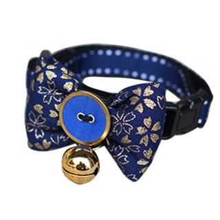Pet cat collar Blue Yao Shan cherry bow tie S ~ M