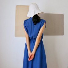 MIYU DRESS - FRENCH VINTAGE Free Adjustable Shoulder Strap Small Stand Collar Elastic Waist Cotton Dress
