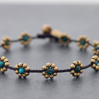 Chrysocolla Flower Anklets Daisy Brass Beaded Folk Flower Woven Ankles Jewelry