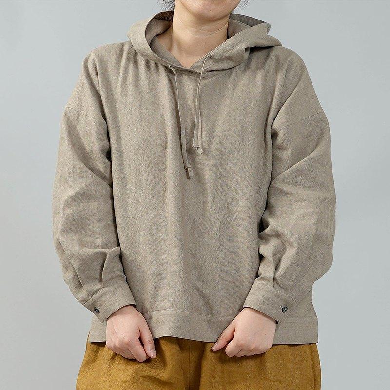 wafu-中型亞麻連帽衫/核桃色t047a-krm2