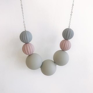 Grey Dirty Pink  Wooden Ball Necklace Birthday Gift Bridesmaid Gift