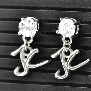 Customized .925 sterling silver jewelry earrings EAR00004- name (word earrings / earring Ear)