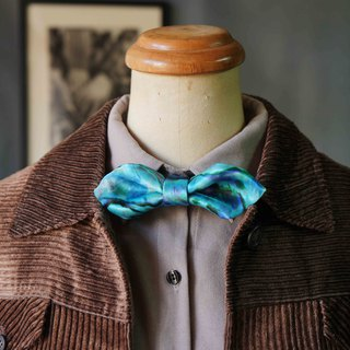 Papa's Bow Tie- antique handmade cloth flowers tie tie restructuring - such as sea spring - Blue - Wide