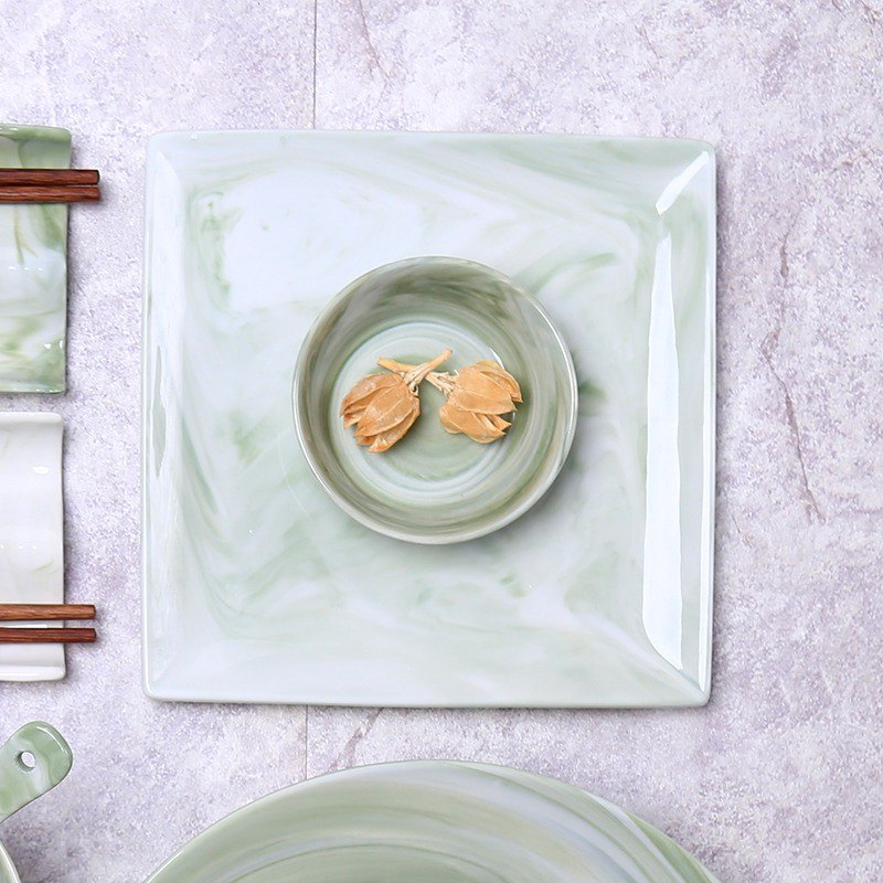 【JOYYE ceramic tableware】 painted quadrilateral plate - green