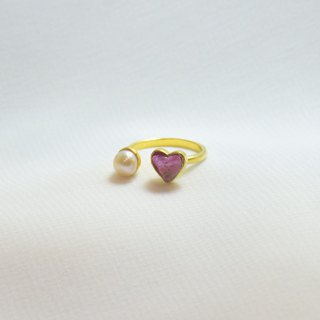 Miniheart with pearl ring