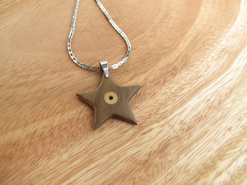 Star Star / Wood Inlaid Brass Necklace / Paraguay Rosewood