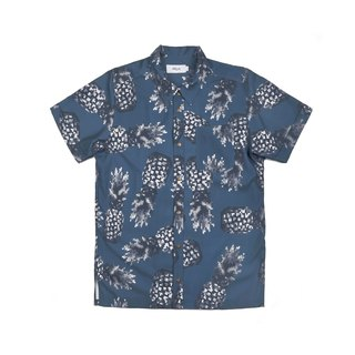 oqLiq - AdHeRe - Mosaic Pineapple Cuban Collar Short Sleeve Shirt