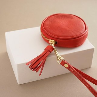 """RENÉE"" tassel three-dimensional round purse / headset storage / storage package plant tanning carved leather / vegetable tanning / vegetable tanning warm red"