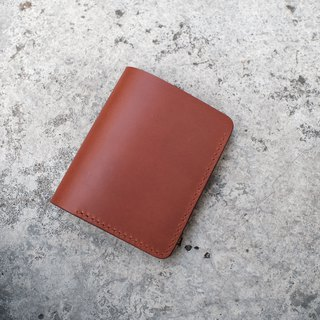 Hand-sewn simple six-card clip wallet clip / buttero caramel brown