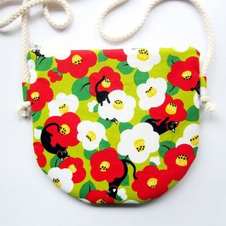 Semicircular oblique backpack zipper bag purse flowers cat (also choose other purse fabric patterns)