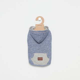 [Tail and me] pet clothes hooded diamond pocket top blue gray