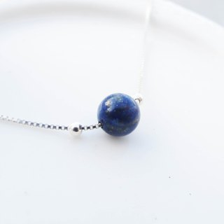 Big staff Taipa [handmade silver] lapis lazuli × clavicle chain handmade sterling silver fine necklace