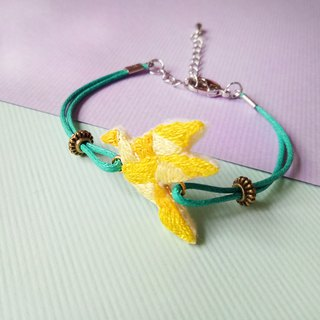 Origami Department embroidered yellow gradient flying paper crane bracelet hand embroidery