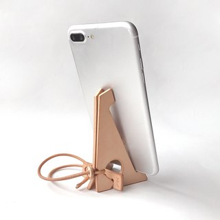Nume leather folding smartphone stand (Unbleached) [zaza / Zaza] # improved version # alphabet engraved to choose