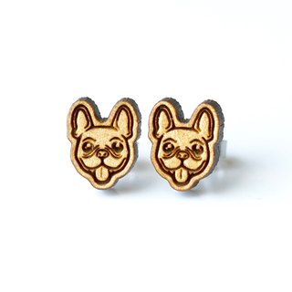 Plain wood earrings-French Bulldog