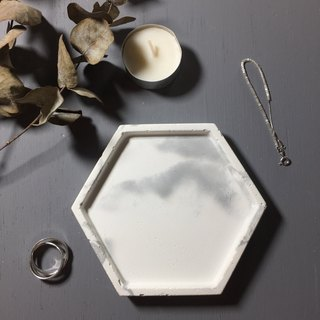 Marble white concrete - hexagon tray as desk organiser or accessories holder