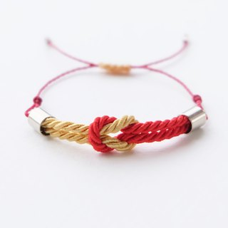 Tiny tie the knot rope bracelet in Red / Gold