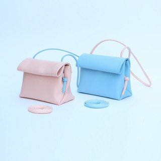 Trumpet Powder/Blue Macaron Ice Cream Minimalist Handmade Contrast Leather Cowhide Crossbody Backpack Shoulder Bag with Two Replaceable Shoulders Barbie Honey Street Summer Ice Cream | Guliang Original Design Creative Leather Goods