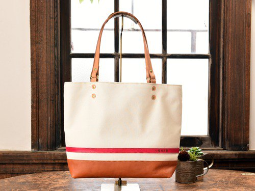 [Summer color] Tote bag made of leather and canvas from Takashima White x Pink L size