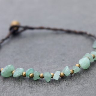 Stone Jade Woven Beaded Anklets, Simple Minimal Raw Brass Green Ankles Bracelets