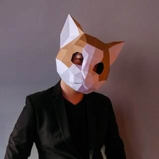 3D paper model _ cat mask _DIY Kits_ hand combination