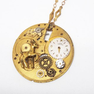 1950 zircon pocket watch necklace deer gear collage