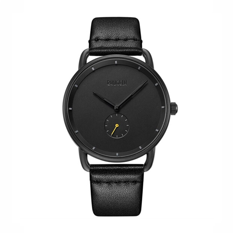 BAOGELA - DOME Black Dial / Black Leather Watch