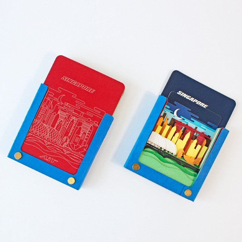 Super texture shredded three-dimensional note paper _ Notepad features - World City Series - Singapore Blue Night
