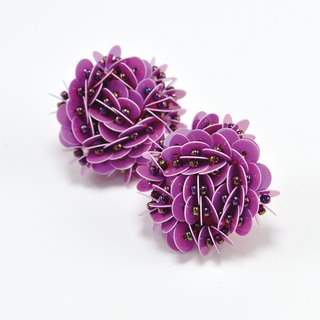 statement flower earrings, pink purple earrings, Hong Kong flower earrings, No.1