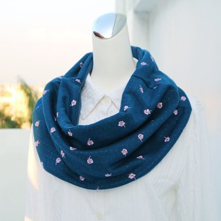 Multi-style warm scarf short scarf neck cover double-sided two-color embroidery rose