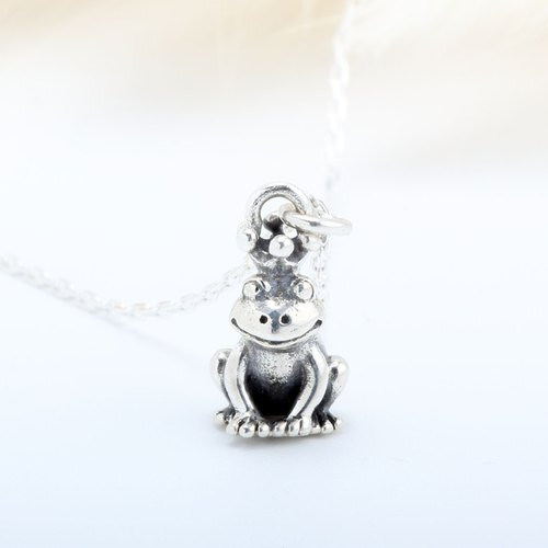 Cute Frog Prince lovely 925 sterling silver necklace Valentine's Day gift