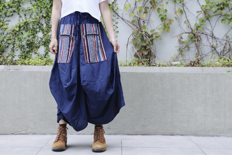 Don't love the sleek dark blue ethnic pocket skirt