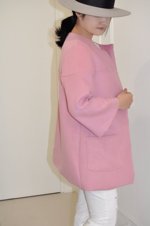 Flat 135 X Taiwan Designer Fall Essentials 90% wool long coat coat shawl good with dry rose new debut gray husband own color button own decision series