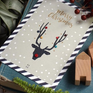 Red-nosed Elk Handmade Leather Postcard Envelope (Exchanging Gifts for Christmas)