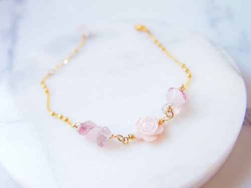 Anniewhere | Romantic | Pink Raspberry Crystal Pink Rose Bracelet/Anklet (Alternative to Necklace)