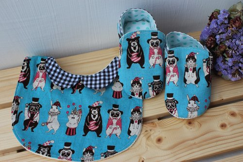 Animal Circus - Blue full moon ceremony births ceremony Bibs Baby Shoes +