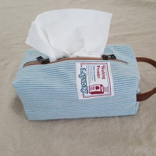 [Linkkimokki] home's face paper bag (striped washed denim)