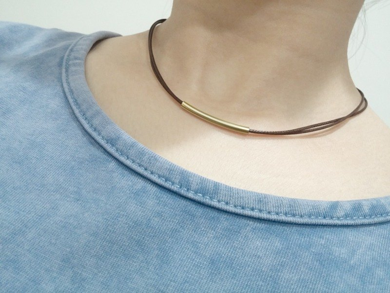 Wax line necklace brass tube plain plain wax rope thin line
