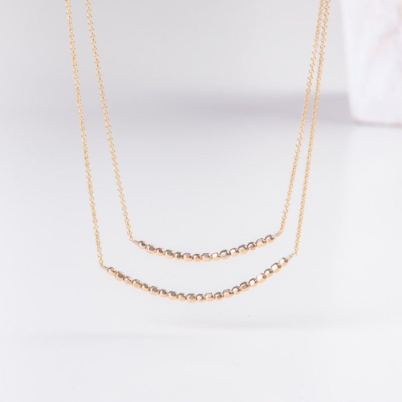 Double Chain Layered 14k gold filled Necklace ISRAEL shiny faceted beads