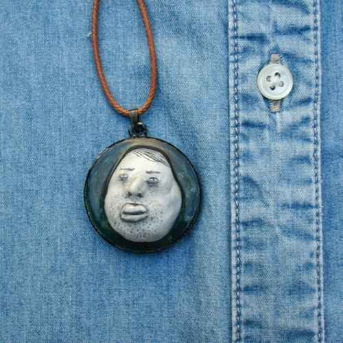 Polymer Clay 3D Portrait Necklace