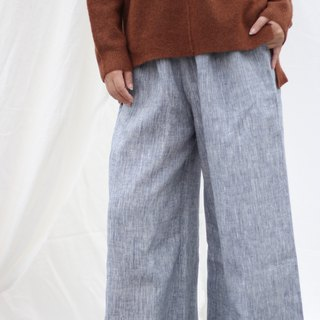 [Spot] original retro literary yarn-dyed linen wide-leg pants - light gray stripes