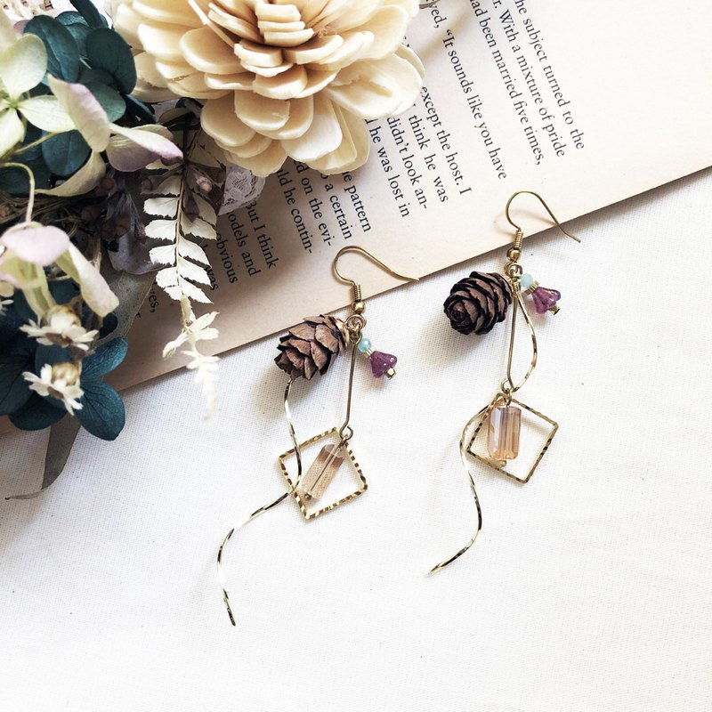 Small pine cone brass earrings