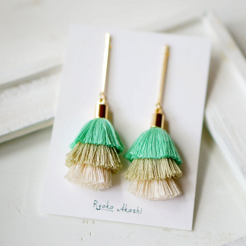 Silk Thread Tassels Post Earrings/Clip On Earrings ミント