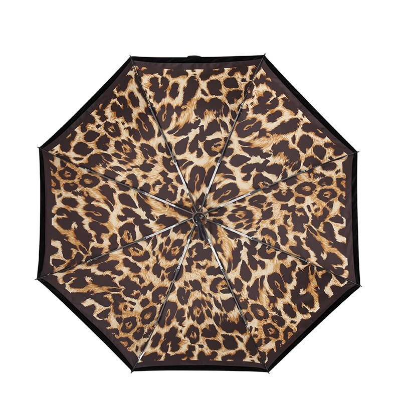 [Germany Kobold] Anti-UV Zero Light Smart Sunscreen - Classic Leopard Sunshade Sunscreen Cooling Umbrella - Double Folding Umbrella - Coffee